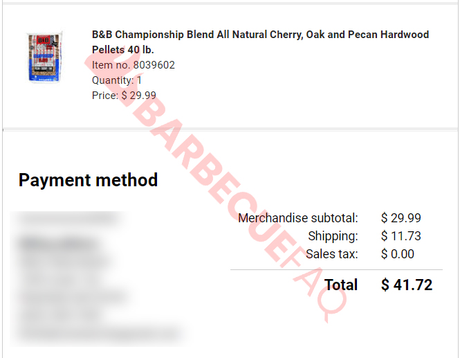 B&B Competition Pellets Purchase receipt